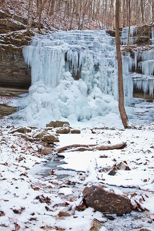 A frigid January day at Stillhouse Hollow Falls State Natural Area sees a rare dusting of snow. I shot here daily over a four-day period, and every hike down the hill showed me a fresh aspect of the scene...the snow fall during the last day was a perfect cap...