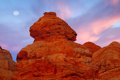 Phyllis captured a full moon and predawn glow on one of the Cottonwood Teepees, South Coyote Buttes