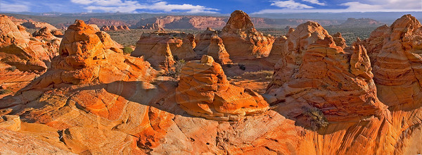 Panorama of some of the colorful formations in the South Coyote Buttes, Cottonwood Area