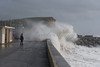Waves breaking over the sea wall at West Bay Esplanade during ferocious storms in the Englsih Channel 8 Feb 2014