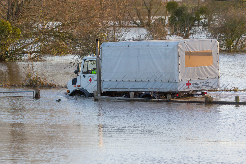 The British Red Cross help with aid effort in the Somerset Levels during the ongoing flood crises