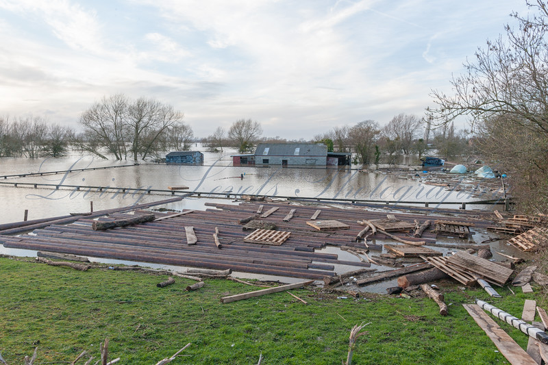 An equestrian centre is flooded at Burrowbridge