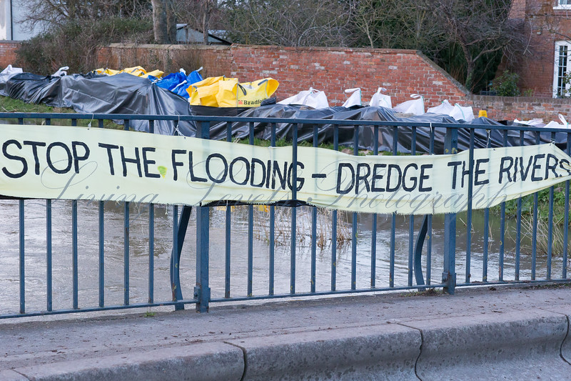 A banner is on display on the bridge over the River Parrett at Burrowbridge