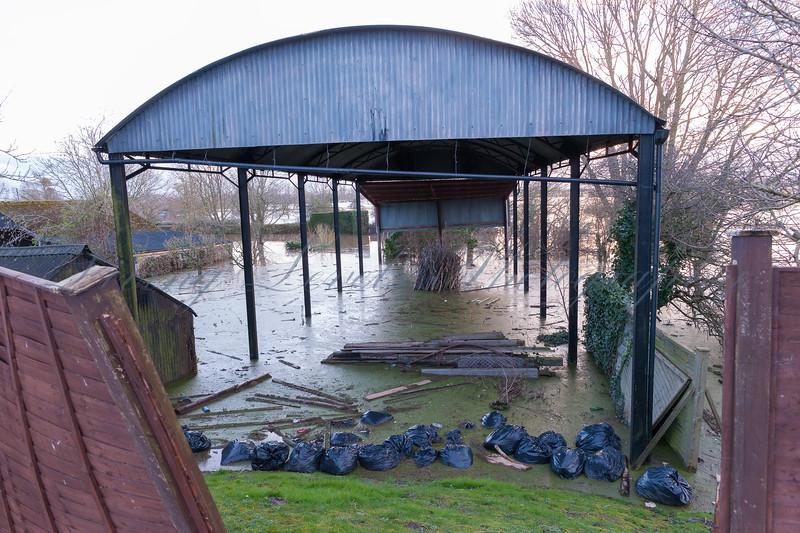 A barn is flooded at Burrowbridge