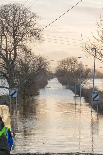 The A361 immediatley South of Burrowbridge is closed by flooding
