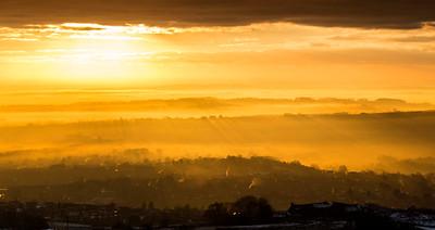 sun rays over Horwich