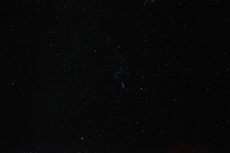 You can see the dipper, or Orion's belt or something in the center
