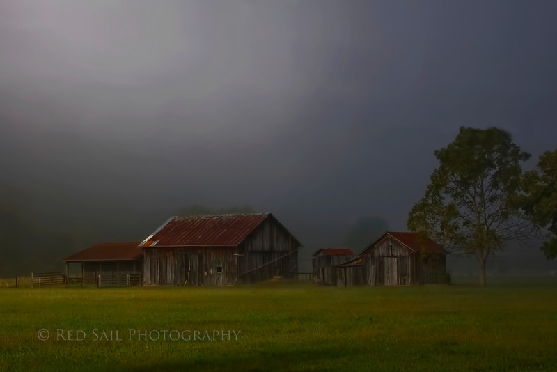 Foggy morning shot of a farm along the Ohio River in Williamstown WV.