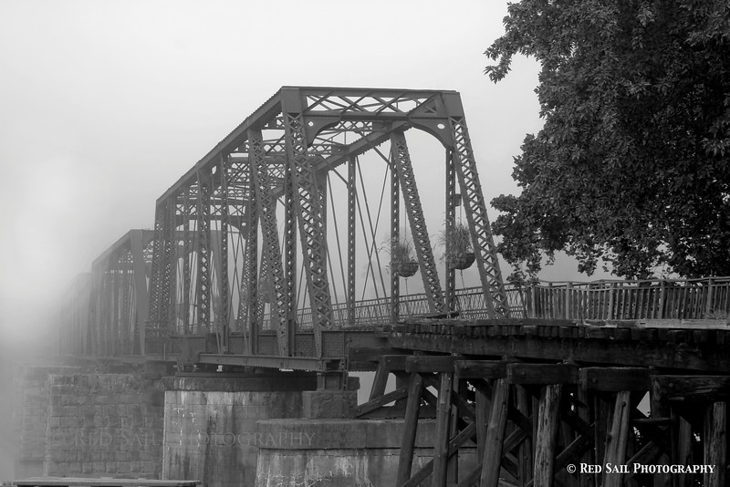 Train Bridge into the fog.