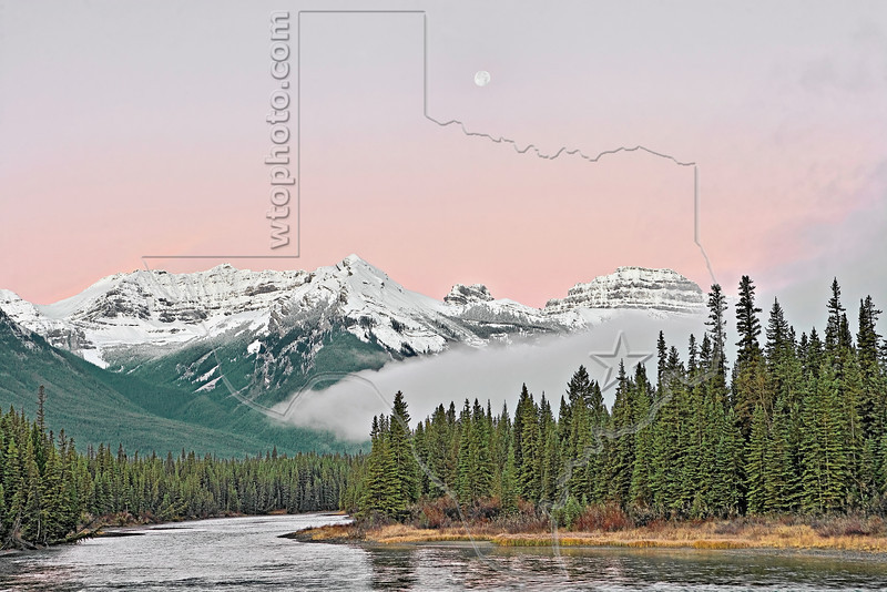 Dawn on the Bow River, Mount Brett (left), Pilot Mountain (right),<br /> Banff National Park, Alberta, Canada