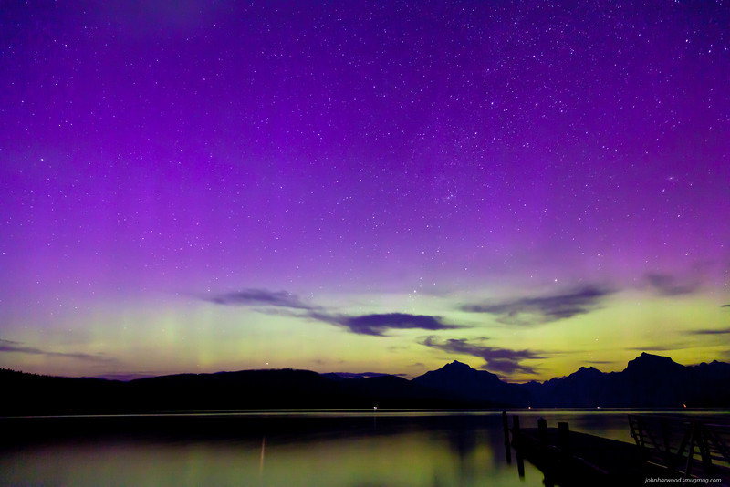 Northern Lights above Lake Mc Donald in Glacier National Park