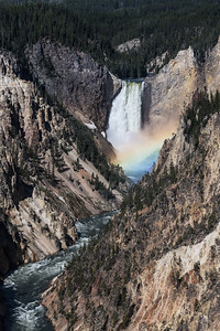 Rainbow in the mist at Upper Falls in the Grand Canyon of the Yellowstone.