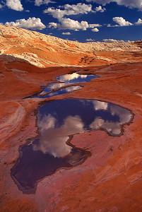 Clouds and sky reflecting in small pools of water in the sandstone landscape of the White Pocket, Vermillion Cliffs National Monument, Arizona
