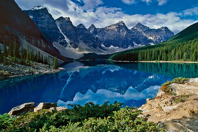 The seven Wenkchemna peaks reflect in Moraine Lake, Banff National Park, Canadian Rockies