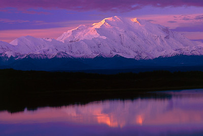 Dawn glow on Mt. Denali, captured by Bill on Fujichrome Velvia in Denali National Park, 1997.