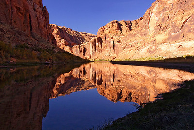 ref07: Phyllis found a mirror image reflection of the walls of Marble Canyon on a calm section of the Colorado River just south of Glen Canyon Dam.