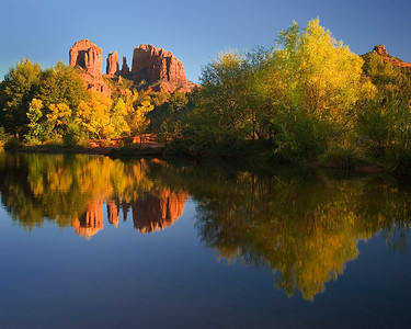 ref05: In Bill's image, Cathedral Rock and Cottonwood trees reflect at the Red Rock Crossing outside Sedona, Arizona.