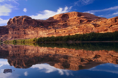 ref10: Bill discovered this mirror image reflection of red rock cliffs in the Colorado River just north of Moab, Utah.