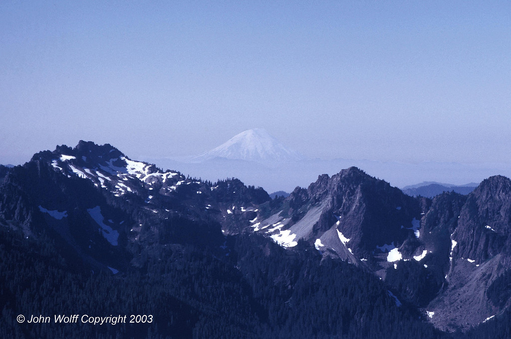 <b> Mt Saint Helens from Mt Ranier, before the eruption  - 1970 </b>