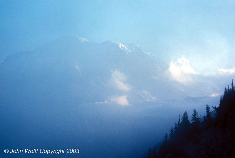 <b> Mt Ranier in low clouds - 1970 </b>