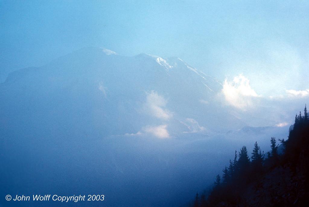 <b> Mt Ranier in low clouds - 1970 </b>