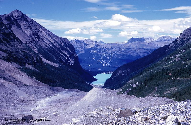 <b> Looking down on Lake Louise - Banff National park </b>