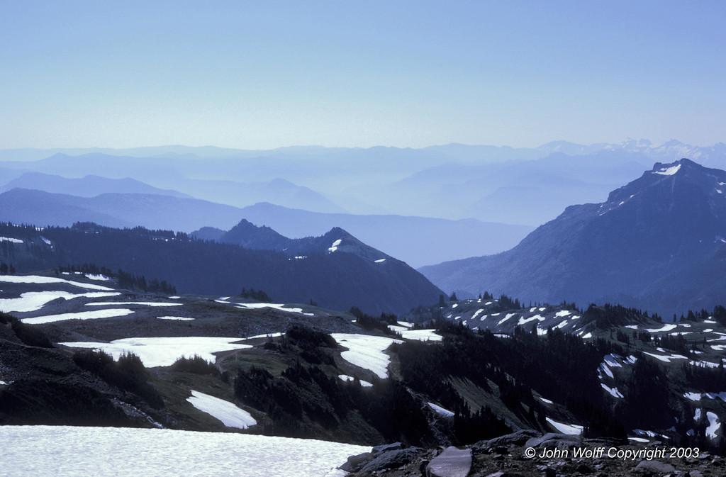 <b> Cascades, early morning haze, from Mt Ranier - 1970 </b>