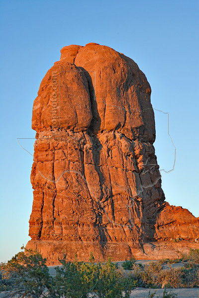 Sandstone Monolith at Sunset,<br /> Arches National Park, Utah
