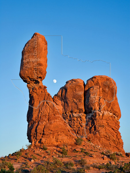 Balanced Rock and Moon, Sunset<br /> Arches National Park, Utah