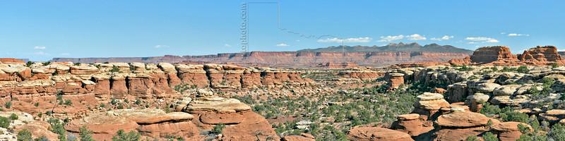 Panorama - Vista of Canyon and La Sal Mountains,<br /> along Chesler Trail,<br /> Canyonlands National Park, Utah