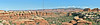 Panorama - Vista of Canyon and La Sal Mountains,<br /> along Chesler Trail,<br /> Canyonlands National Park, Utah