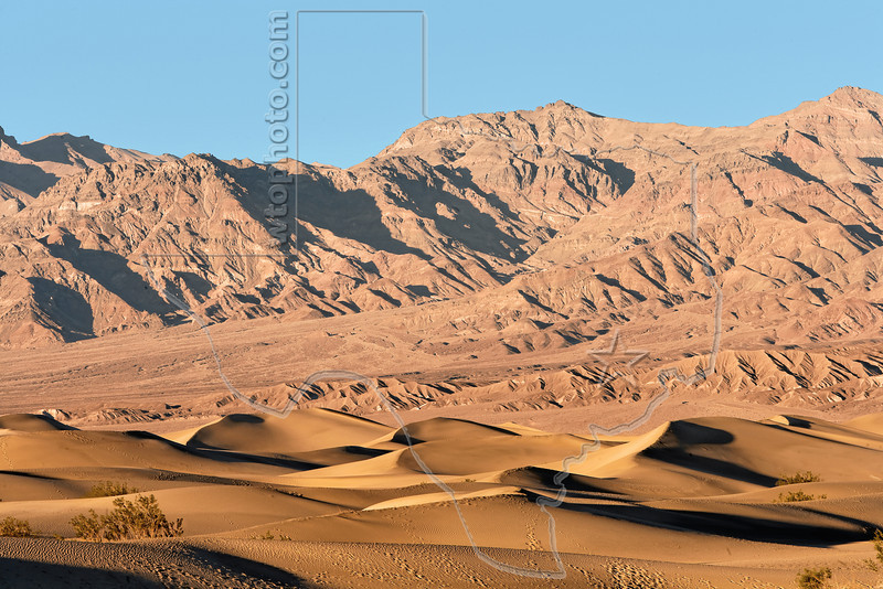 Sand Dunes and Mountains at Sunset,<br /> Death Valley National Park, California