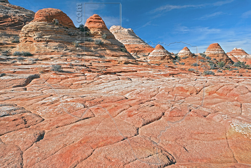 Brain Rock and Tepees on Hike to The Wave,<br /> North Coyote Buttes,<br /> Paria Canyon-Vermilion Cliffs Wilderness, Utah-Arizona