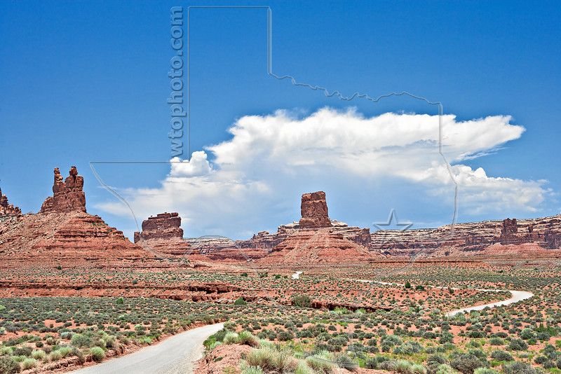 Sandstone Formations and Monsoon Thunderhead,<br /> Valley of the Gods,<br /> near Mexican Hat, Utah