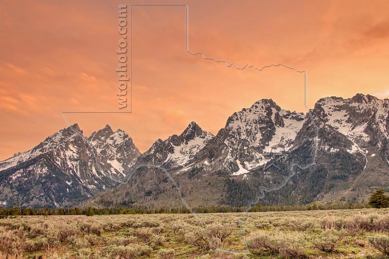 Grand Teton Mountains, Sunset<br /> Grand Teton National Park, Wyoming