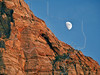Bridge Mountain and Moon at Sunset,<br /> Zion National Park, Utah