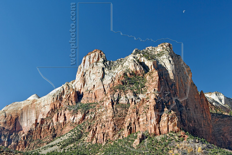 Sandstone and Moon,<br /> Zion National Park, Utah