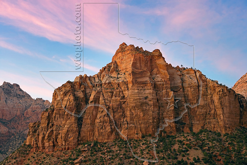 Spry Mountain at Dawn,<br /> Zion National Park, Utah