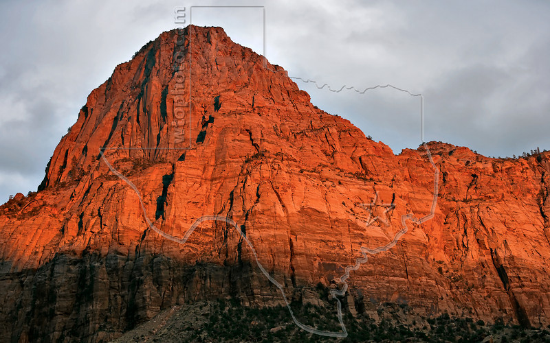 Last Light on Bridge Mountain<br /> Zion National Park, Utah