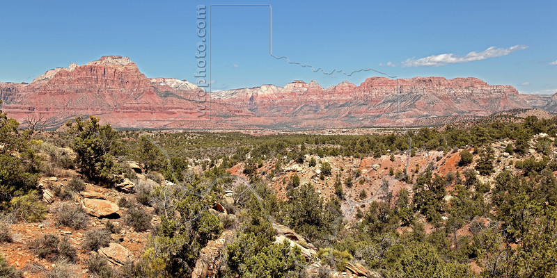 Sandstone Mountains in and Around Zion National Park,<br /> Viewed from Smithsonian Butte Scenic Byway, Utah