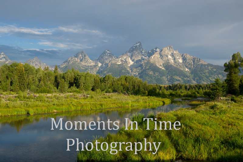 Tetons reflected in Snake river