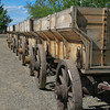 LIne of old west coal mining wagons in Montana