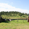 Red barn and cattle pens