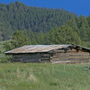 Old log cabin, or barn, with tin roof located in the mountains of Montana