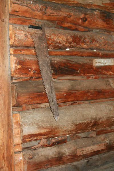 Antique saw hangs in old log cabin