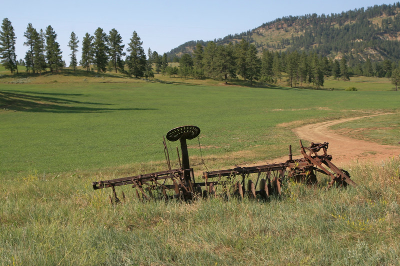 Antique farm equipment rusting on a mountain side
