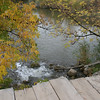 Old wooden bridge in the Fall