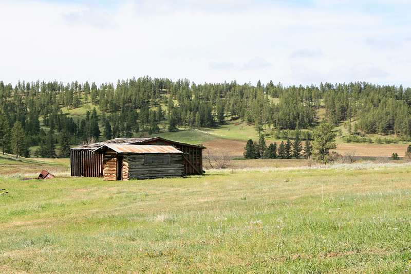 Log barns and other ranch buildings in Montana