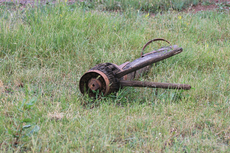 Antique wagon parts left on the mountainside