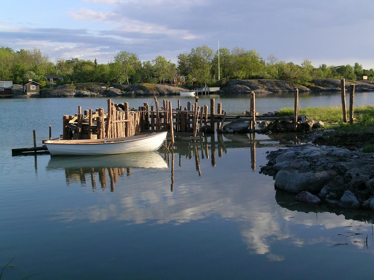Åland island boat and dock scene, Finland.
